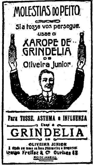 Propaganda de um xarope que prometia o fim de diversos males. As moléstias do peito eram o foco do Xarope Gridélia.