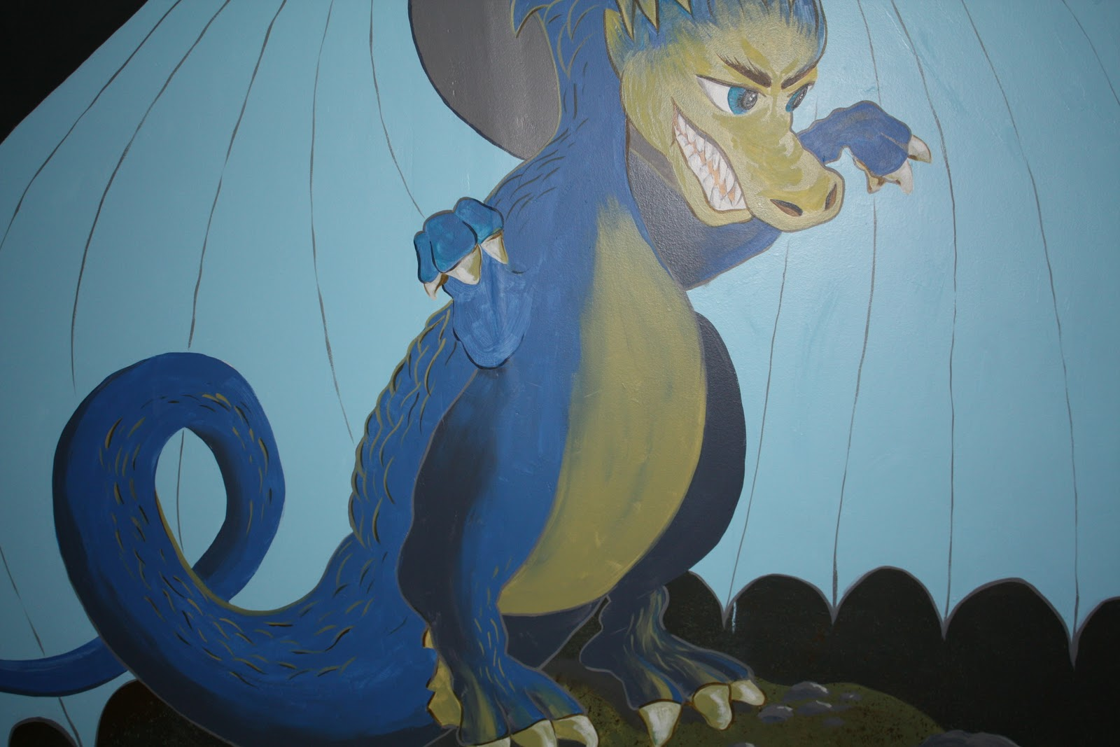 Sheila beninati art studio detail work for dragon mural for Mural work using m seal