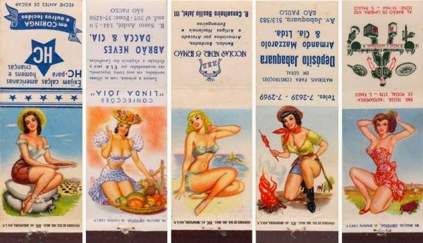 Garotas no verso de caixas de fósforo - Pin ups anos 20