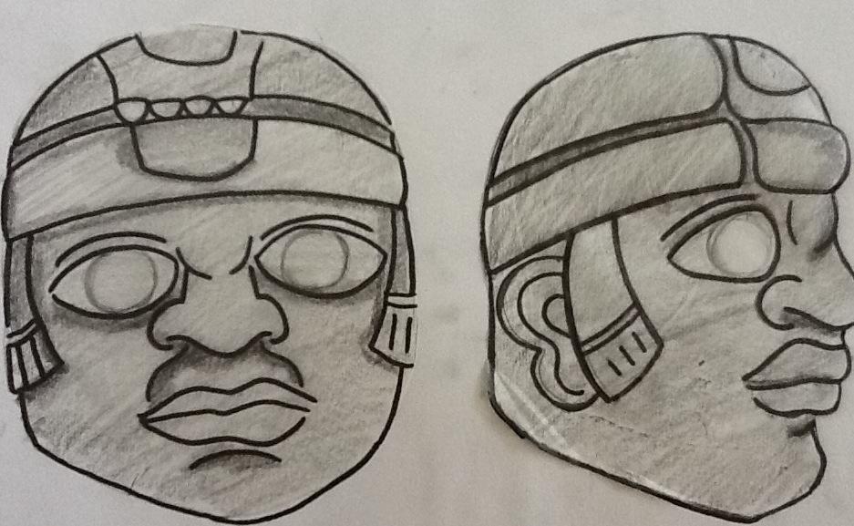 Cabeza Olmeca Dibujo Las Cabezas Olmecas