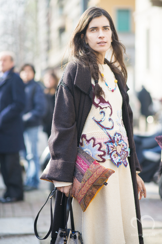 Chiara Totire at Etro 2015-2016 Fall Winter show during Milan Fashion Week MFW