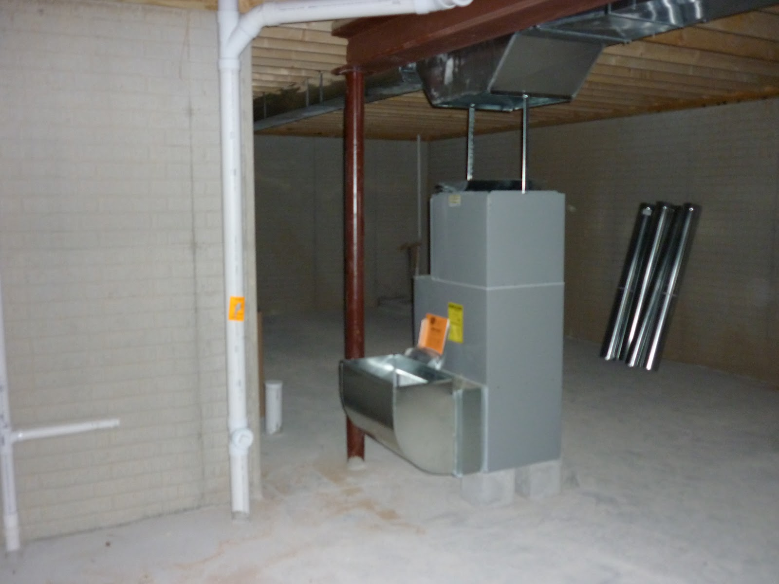start of putting in the furnace in the basement