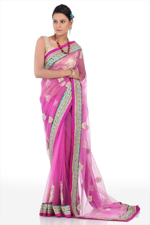 Cherry Blossom Pink Net Saree