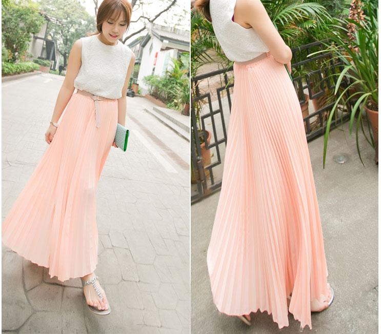 Green chiffon pleated maxi skirt – Modern skirts blog for you