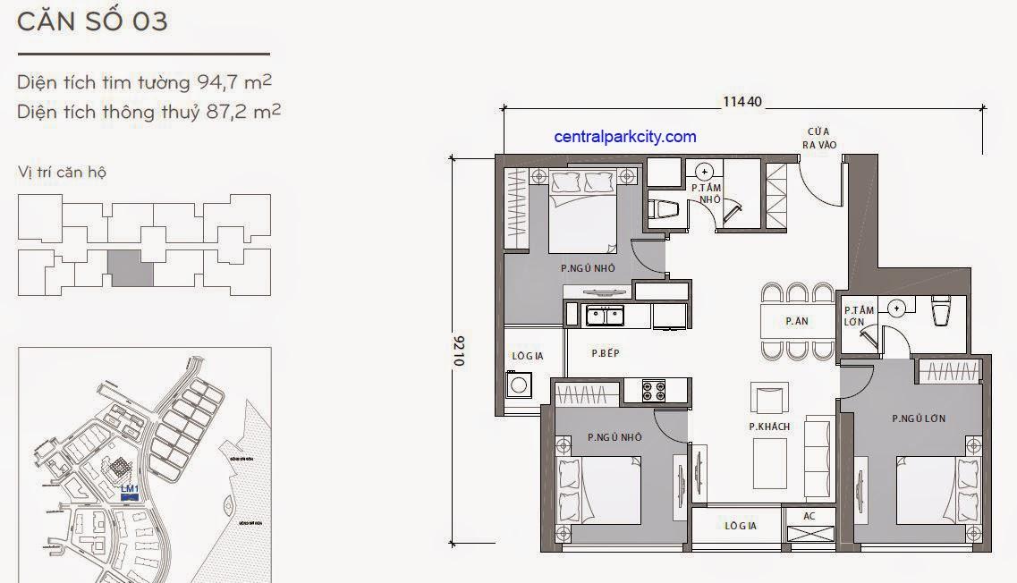 Căn hộ Landmark 1 - kiểu nhà số 03 - 94.7m2 - 3PN
