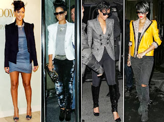 Rihanna com vestido de cor neutra e para festa