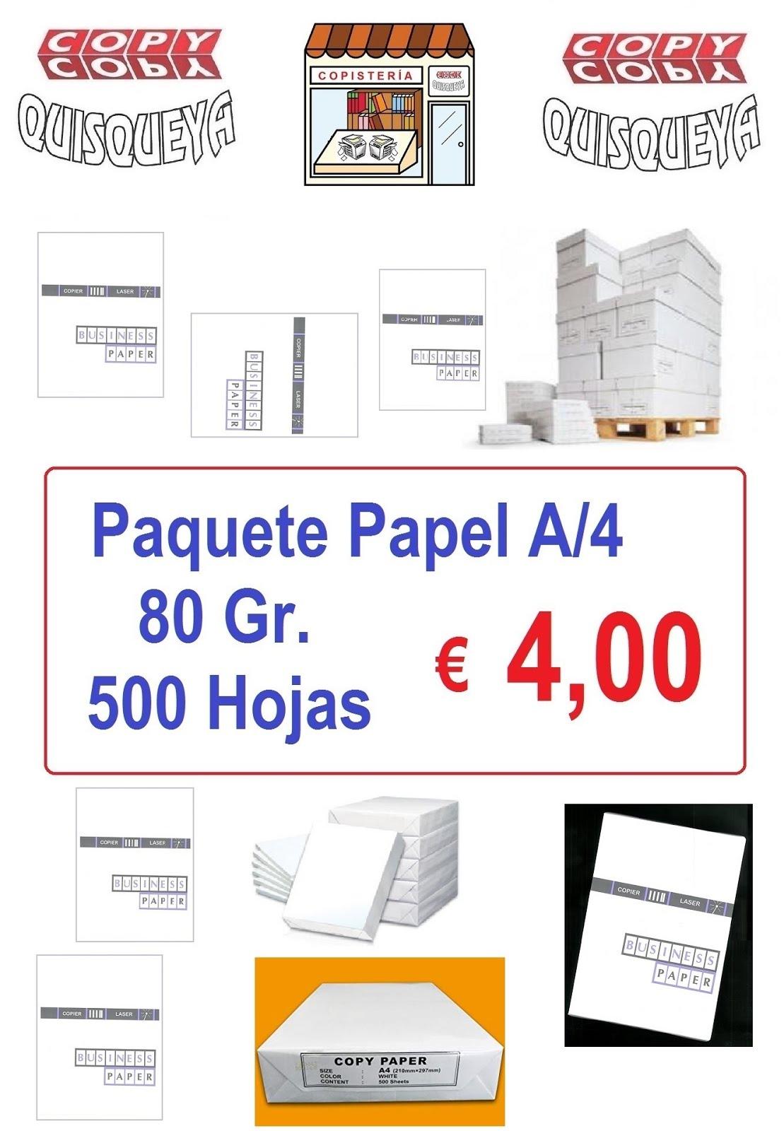 ... OFERTA PAPEL A/4 - PAQUETA 500 HOJAS - 80 GRS. ....