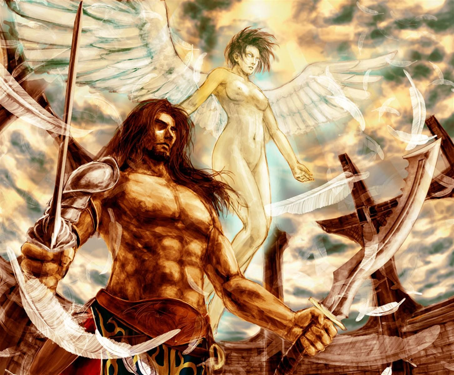 Naked women warriors and angels fantasy anime photo