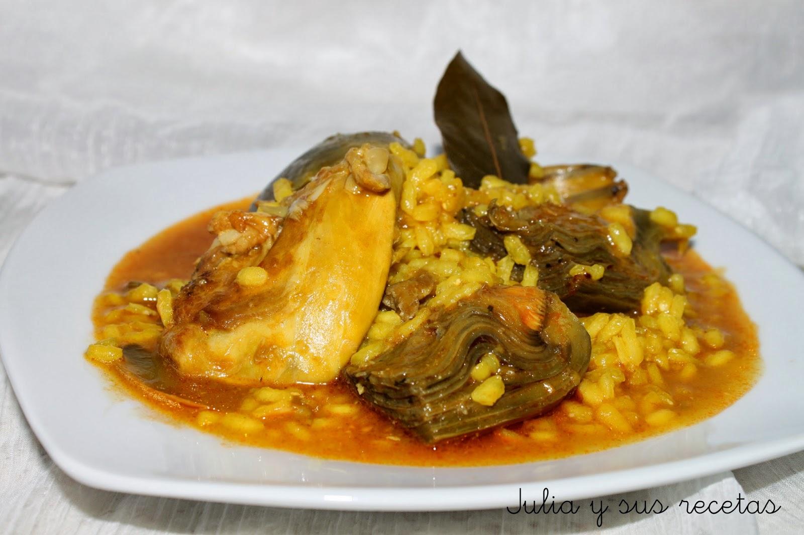 Julia y sus recetas arroz caldoso con alcachofas y conejo - Arroz con alcachofas y jamon ...