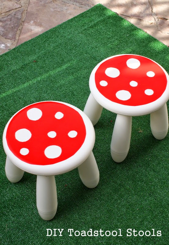How to turn an IKEA stool into a cute toadstool stool! Super easy and fun tutorial and results!