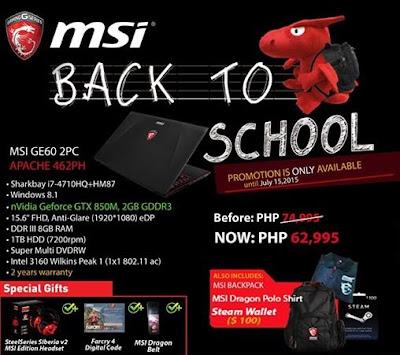 MSI Back to School Promo