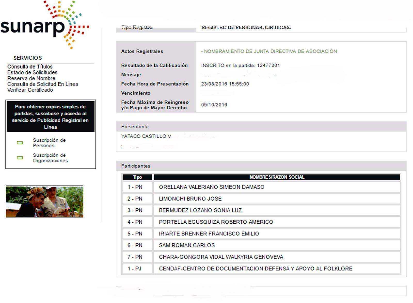INSCRIPCIÒN EN SUNARP DEL CONSEJO DIRECTIVO CENDAF ELEGIDO PARA EL PERIODO 2016-2018