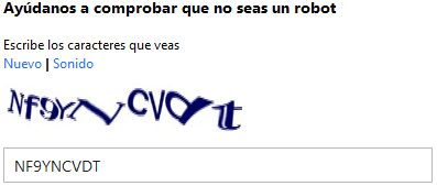 Captcha Registro Correo Hotmail