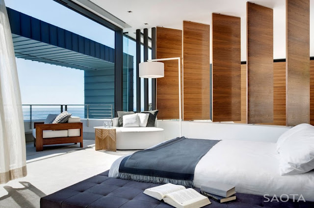 Photo of modern minimalist bed by the balcony in modern bedroom