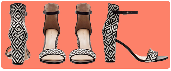 dirty blonde ambition, zara, wide-heel sandal with ankle strap, aztec, black, white, print, straw, heel, shoe, pump, asos