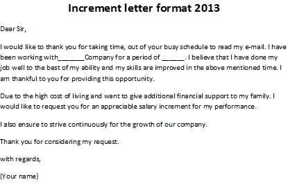Superior Increment Letter Format 2013, Increment Letter Format Inside Letter Format For Salary Increment