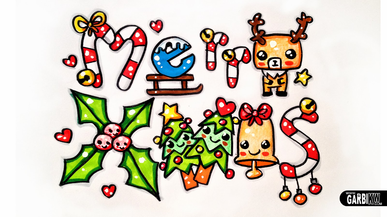 Merry Xmas - How To Draw Cute and Graffiti Letters by Garbi KW ...
