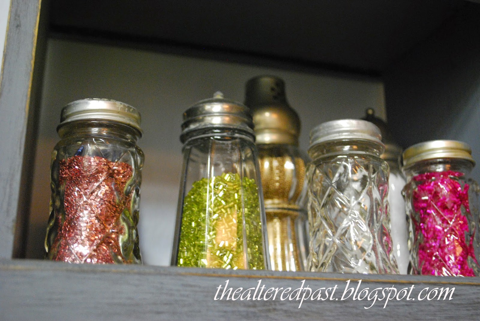 workroom studio, the altered past blog, glitter in salt shakers