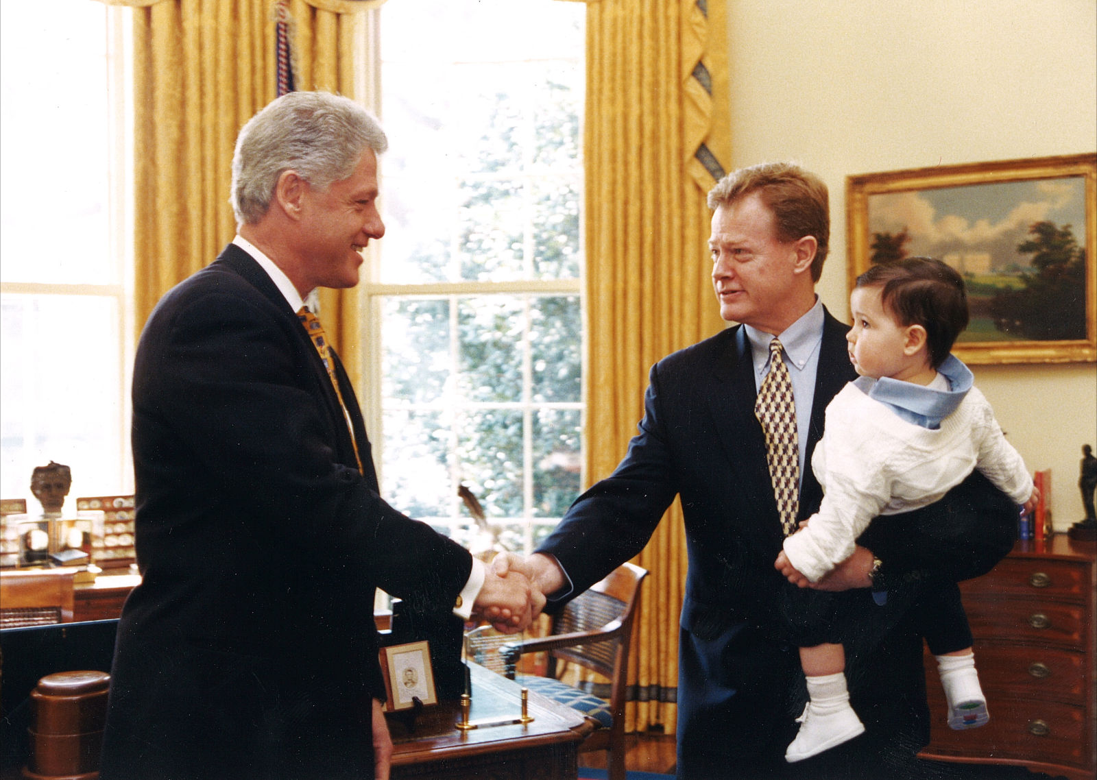 President Clinton meets Dan Emmett and son