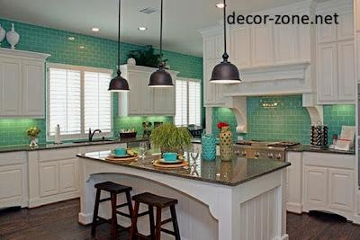 kitchen backsplash tile ideas in a turquoise color