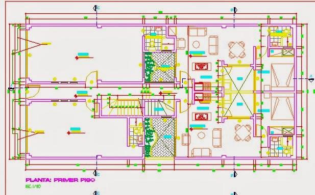 Descargar planos en autocad dwg plano de vivienda Planos de casas de 200m2