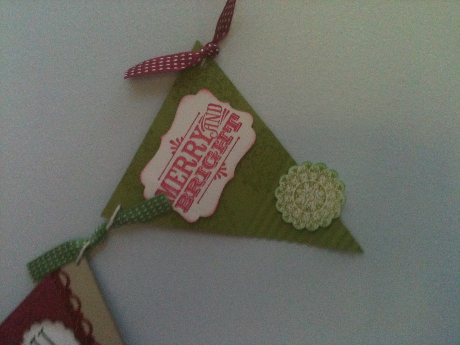 merry and bright stamp on Christmas pennant