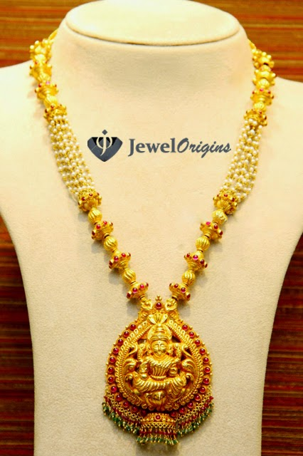 Jewelorigins indian designer gold and diamond jewelleryindian 22 carat gold antique finish temple jewelry necklace with pearl chains and goddess lakshmi pendant studded with kundans from malabar gold and diamonds mozeypictures Image collections