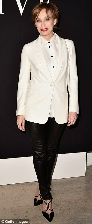 Kristin Scott Thomas in Armani jacket and leather trousers at Armani Couture SS15 show