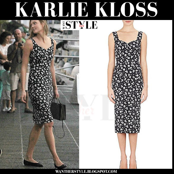 Karlie Kloss in black daisy print dress dolce gabbana what she wore