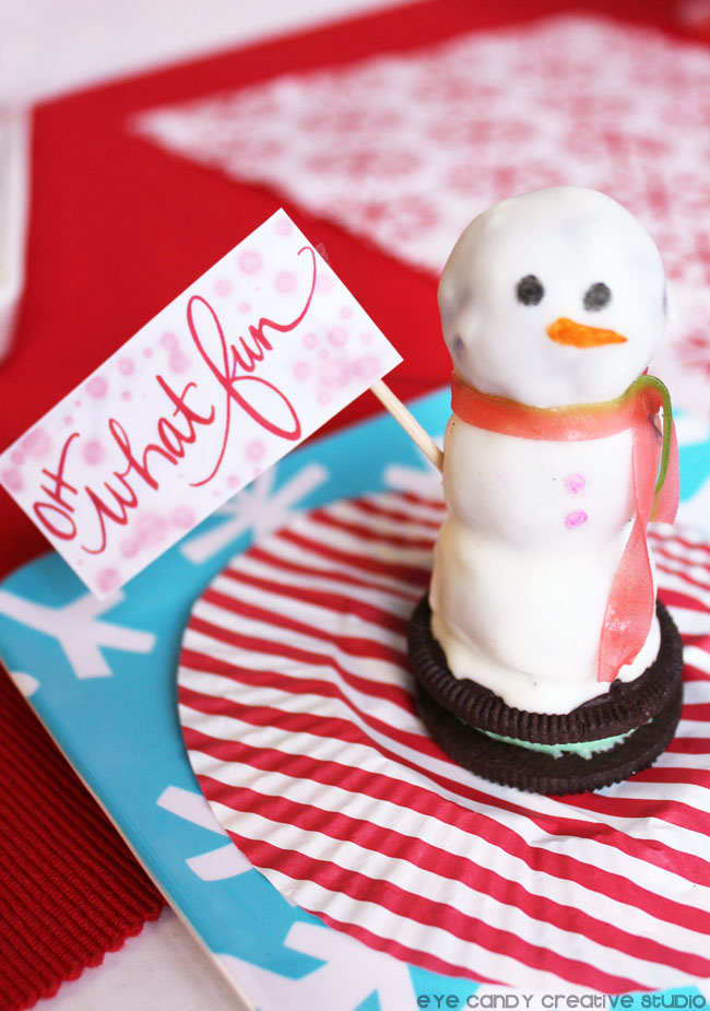 oh what fun, how to make edible snowman, oreo cookies, snowman