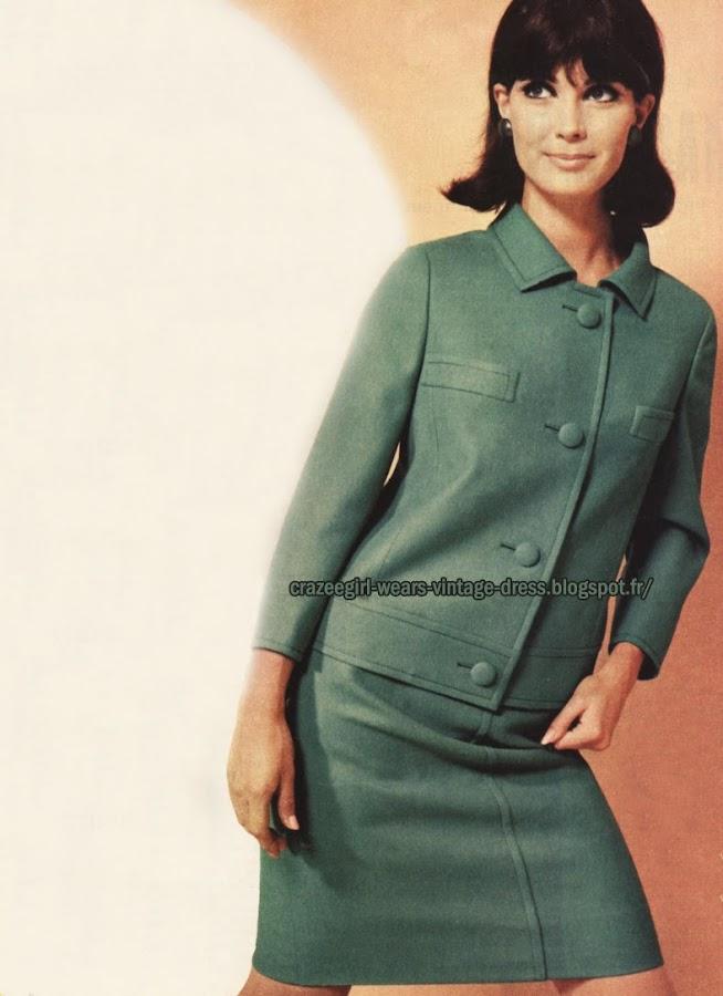 1967 - green mod suit skirt 60s 1960 mod