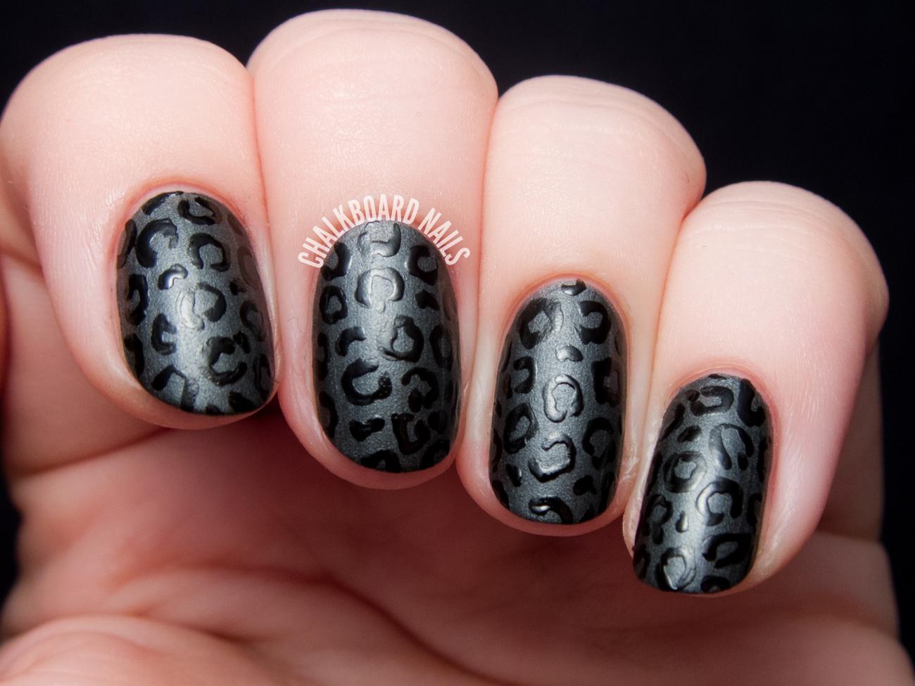 Fierce Feline Satin Vs Glossy Leopard Print Nail Art Chalkboard