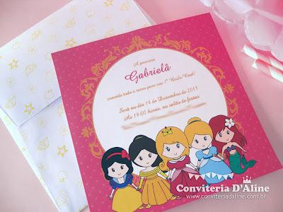 convite princesas disney rosa
