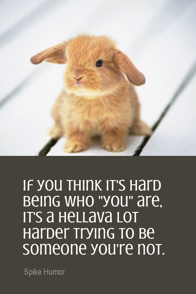 visual quote - image quotation for SELF-AWARENESS - If you think it's hard being who