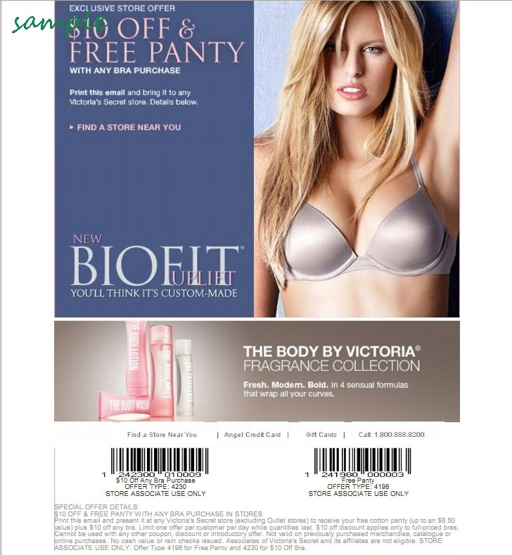 Victoria secret coupons free bra
