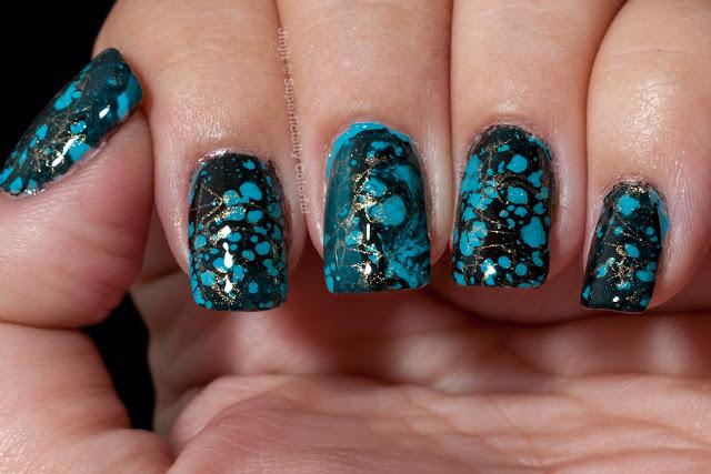 Spray Marble Turquoise Gemstone manicure