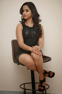 Swathi Deekshit Hot  inner thigh show Photos in Black transparent Short Dress