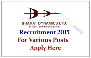 Bharat Dynamics Limited (BDL) Recruitment 2015 for the post of Engineers