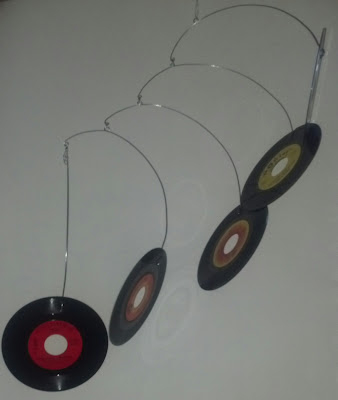 Recycled vinyl record kinetic art hanging mobile