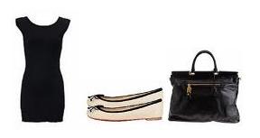 lbd + bolso grande negro + bailarinas blancas