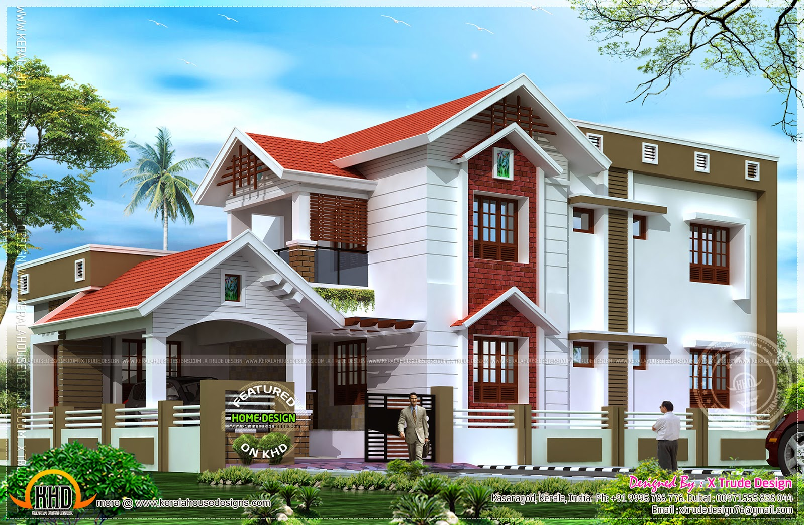 2401 square feet nice house renderings kerala home for Nice home plans