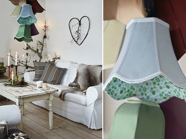 detalle rincón del salón con lámparas sobrepuestas