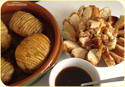 image-Poulet laqué aux épices et pommes de terre rôties