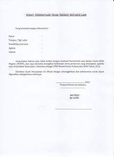 Contoh Surat Pernyataan Tidak Bekerja Di Instansi Lain