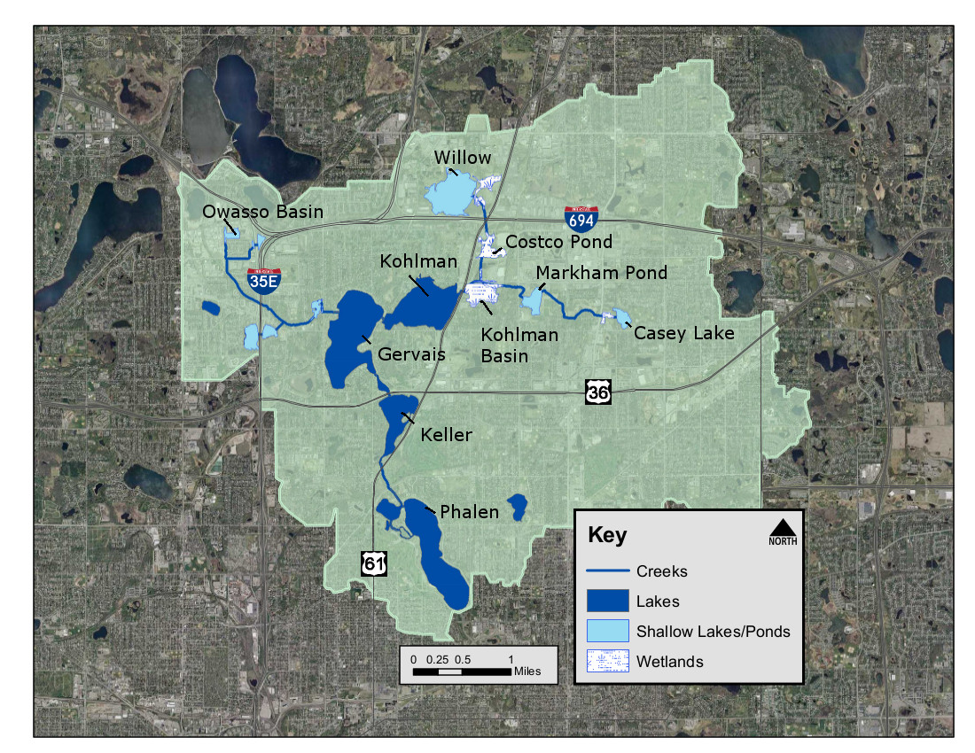 this map shows key targeted areas in the phalen chain where carp management has been in progress in the past few years