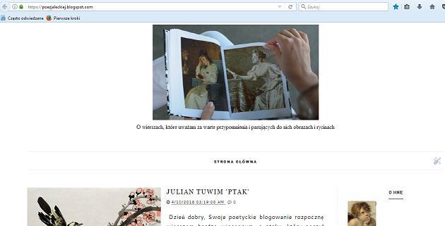 Zapraszam też do mojego drugiego bloga - o poezji i obrazach