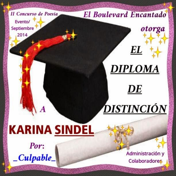 "DIPLOMA DISTINCIÓN AL POEMA ""CULPABLE"""