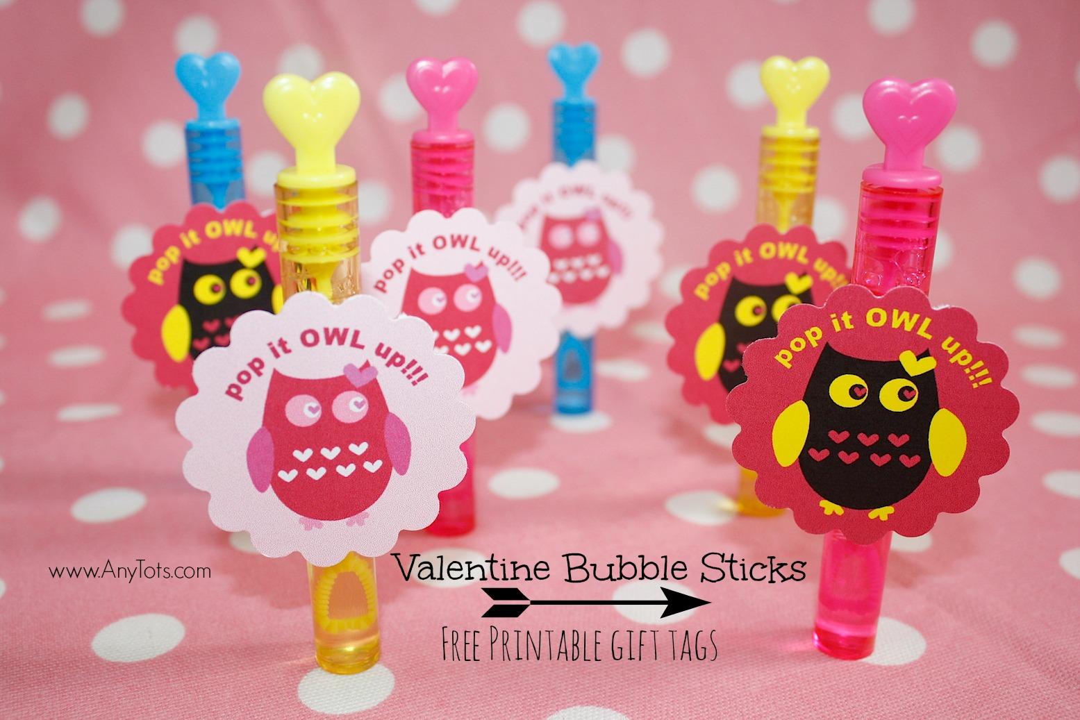 Non Candy Valentine Idea: Bubble Sticks + Free Printable Valentine Gift Tag
