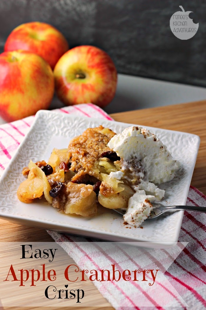 Easy Apple Cranberry Crisp:  A classic dessert perfect for Fall!