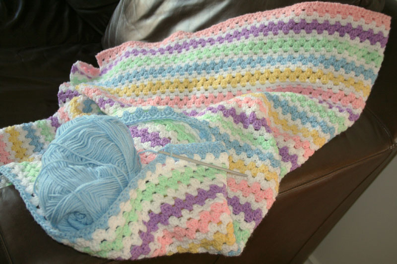 Its all about us: Crochet granny stripe blanket